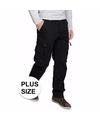 Grote maten zwarte cargo pantalon voor heren