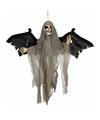 Halloween decoratie skelet pop met vleugels en licht en geluid 45 cm