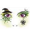 Halloween gezicht stickers heks 1 vel