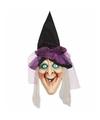 Halloween grote horror decoratie heksen hoofd 120 cm