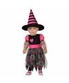 Halloween halloween heksenjurk voor peuters zwart met roze