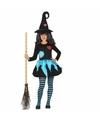 Halloween heksen kleding blauw zwart voor meisjes