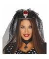 Halloween tiara met doodskop en spinnen sluier