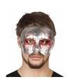 Halloween zilver bebloed oogmasker voor heren