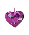 Hartjes kussen paars metallic met pailletten 35 cm