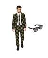 Heren kostuum met batman print maat 50 l met gratis zonnebri