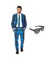 Heren kostuum met schotse print maat 46 s met gratis zonnebri