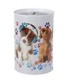Honden met koptelefoon spaarpot 15 cm