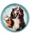 Honden wandklok berner sennen groen 25 cm