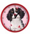 Honden wandklok king charles rood 25 cm
