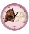 Honden wandklok labrador pups roze 25 cm