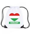 Hongarije hart vlag nylon rugzak wit