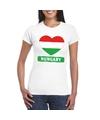 Hongarije hart vlag t shirt wit dames