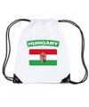 Hongarije nylon rugzak wit met hongaarse vlag