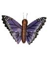 Houten magneet paarse vlinder
