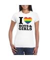 I love boys girls regenboog t shirt wit dames