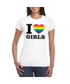 I love girls regenboog t shirt wit dames