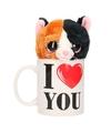I love you mok met knuffel poes kat duokleur