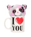 I love you mok met knuffel poes kat gevlekt