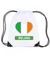 Ierland hart vlag nylon rugzak wit