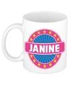 Janine naam koffie mok beker 300 ml