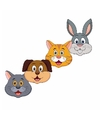 Kartonnen huisdieren maskers voor kinderen 4x