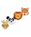 Kartonnen safaridieren maskers voor kinderen 4x