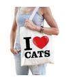 Katoenen tasje i love cats katten poezen