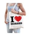 Katoenen tasje i love horses paarden