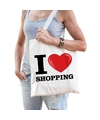 Katoenen tasje i love shopping