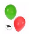 Kerst ballonnen 30 stuks groen rood