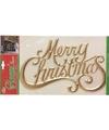 Kerst decoratie raamsticker merry christmas goud 42 cm