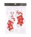 Kerst decoratie raamstickers sokken 2 stuks 40 cm type 2