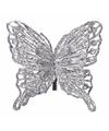 Kerst decoratie vlinder zilver 13 x 11 cm