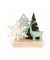 Kerst houten winter tafereel op voet