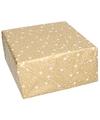 Kerst inpakpapier goud met witte sterren
