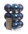 Kerst kerstballen blauw 6 cm elegant christmas 12 stuks
