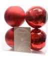 Kerst kerstballen rood 10 cm elegant christmas 4 stuks