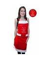 Kerst schort rood joyeux noel voor volwassenen