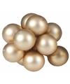 Kerst steker gouden mini kerstballen mat 10 stuks