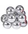 Kerst steker zilveren mini kerstballen 10 stuks