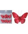 Kerstboom deco vlinder op clip rood 4 stuks