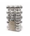 Kerstboom decoratie kerstballen mix zilver 30 stuks