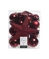 Kerstboom decoratie kerstballen set rood 33 stuks