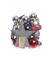 Kerstboom decoratie kerstballen set zilver rood blauw 33 stuks