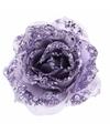 Kerstboom decoratie roos lila paars 14 cm