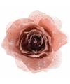 Kerstboom decoratie roos marmer roze 14 cm