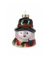 Kerstboom decoratie sneeuwpop hoofd hanger 8 cm