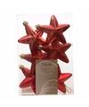 Kerstboom decoratie sterren rood 6 stuks 7 cm