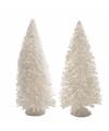 Kerstdorp maken besneeuwde decoratie dennenbomen 2 stuks 15 cm